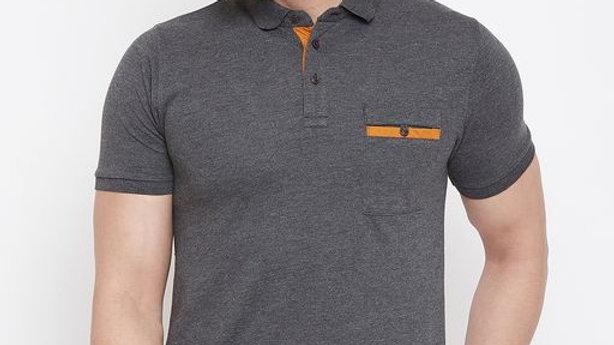 Austin Wood Men's Charcoal Solid Polo Neck T-shirt