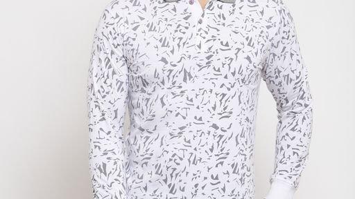 Gents Grey Collar Geometric Print White Cotton Tshirt Full Sleeves
