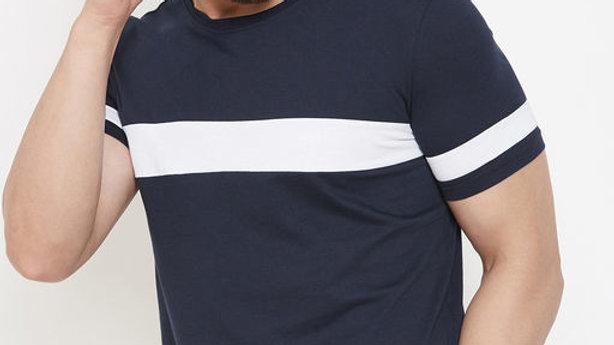 AUSK Navy Striper T-Shirt