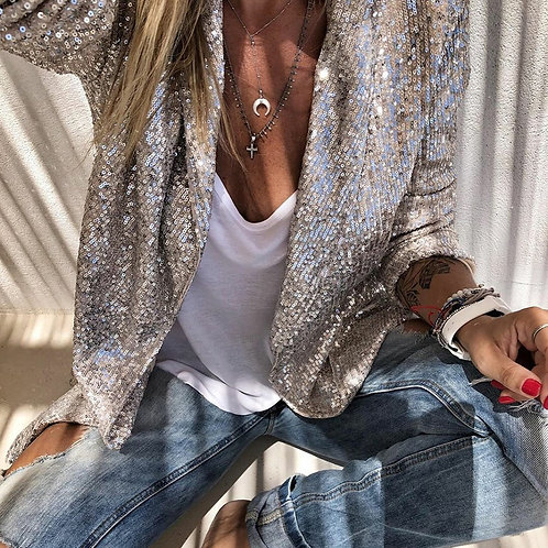 Sequins Long Sleeved Blazers