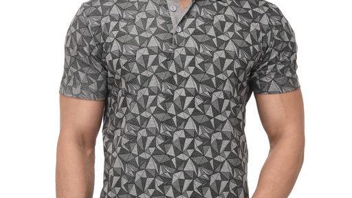 Men's Printed Polo Neck Grey T-Shirt