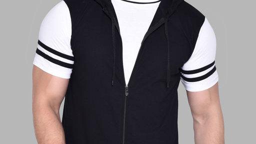Blisstone Hood neck Short Sleeves T-shirt Black