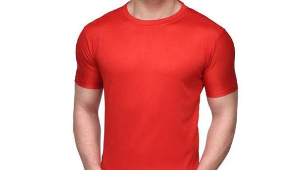 Ketex red men's round neck slim fit polyster dri - fit tshirt
