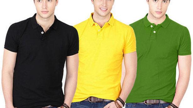 Ansh Fashion Wear Polo Neck Plain T-shirt - Pack of 3