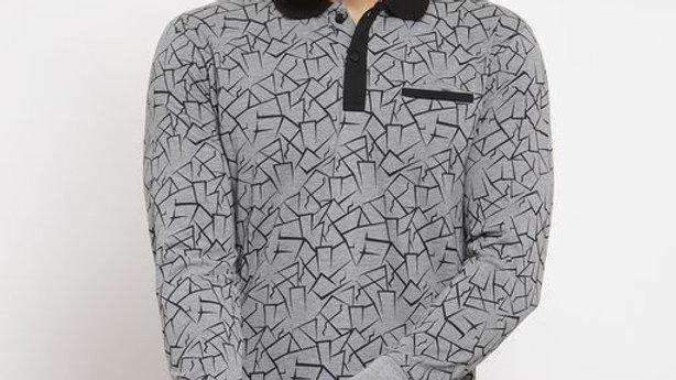 Gents Black Collar Abstract Printed Grey Tshirt Full Sleeves