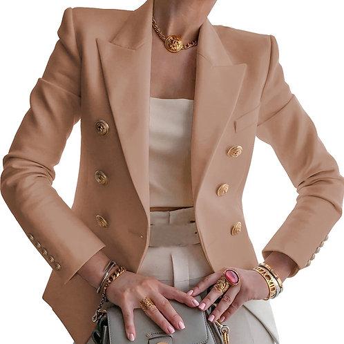 High Quality Khaki Blazer Women Office Lady Formal Double Breasted Blazers