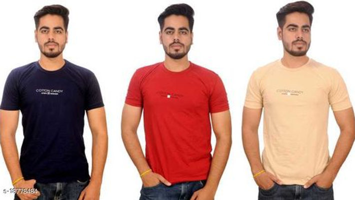 Cotton CandySolid Men Round Neck Multicolor T-Shirt(Pack of 3)