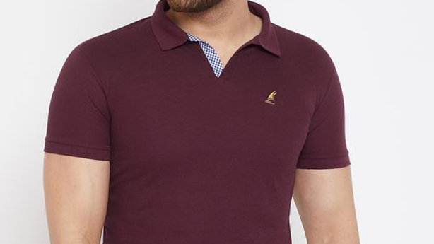 Harbor n Bay Men's Wine Solid Tshirts