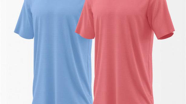 Men's Solid Plain Branded Regulat Fit T Shirt (Set of 2 Pieces)