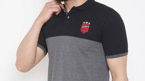 Men's Multi Short Sleeves Striped Polo Collar Tshirts