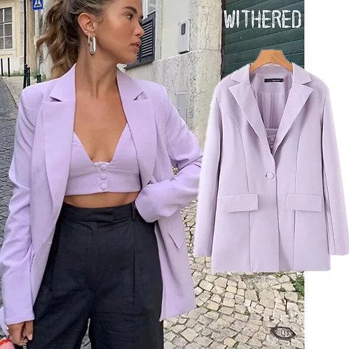 Withered Purple Blazer Feminino Blazer
