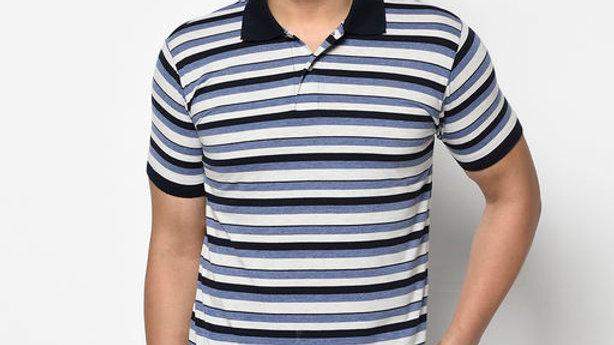 Elegance Men's Multi Polo Neck Striper T-shirt