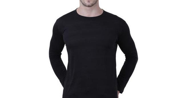 K-TEX Black  Round  neck spun cotton fullsleeves men's tshirt