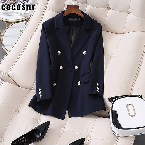 Korea Blazer Women Double Breasted Navy Blazers