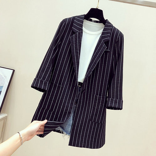 2019 Single Breasted Striped Women Blazer