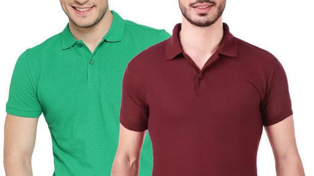 Ansh Fashion Wear Pack of 2 Regular Wear Polo Neck T-shirt