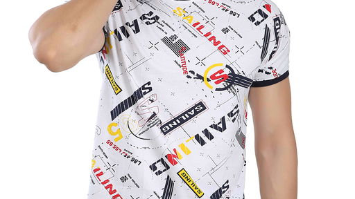 John Luther Men's Stylish Printed Round Neck T-Shirt - White