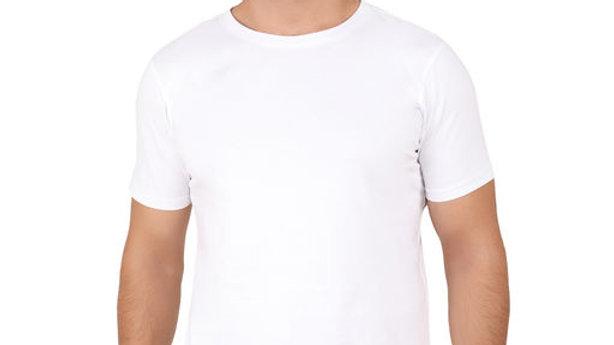 Men Plain Pure Cotton Round Neck White T-shirt