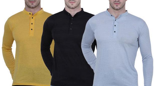 Henley  neck spun cotton fullsleeves men's tshirt (PACK OF 3)