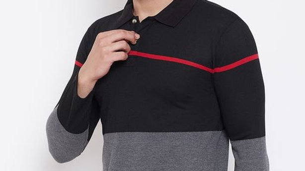 Men's Grey Short Sleeves Solid Polo Collar Tshirts