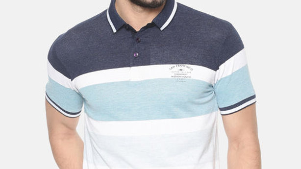 Halton Hills Men's Polo Collar Striped T Shirt