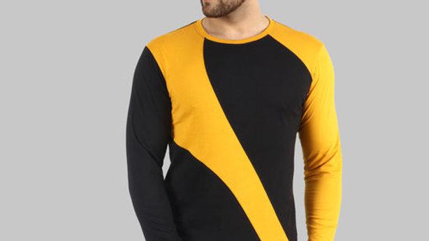 Lecowar Men's Pure Cotton Color Block T-Shirt (Black::Mustard)