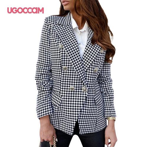 UGOCCAM Women Blazer Button Ladies Blazer