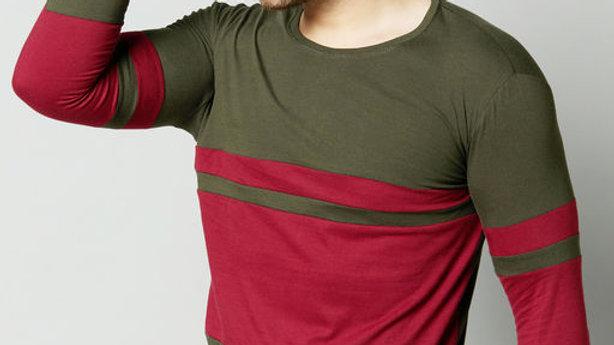 AUSK Colourblock Crew-Neck T-shirt