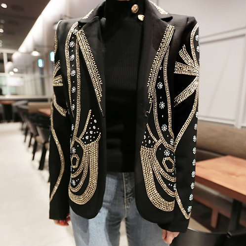 Luxury Beading Elegant Buttons Women Blazers