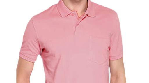 MS FASHION pink polyster /cotton blend polo collar  men's tshirt .