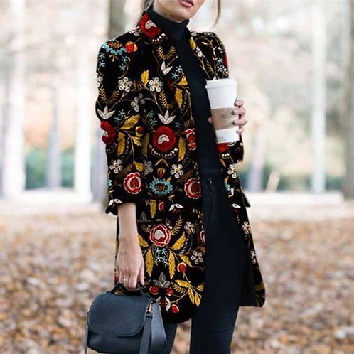 Tweed Print Blazers Women 2020 Autumn Winter Plus Size Blazer