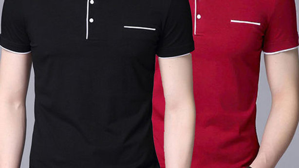Lime offers set of 2 solid chinese tshirt for men