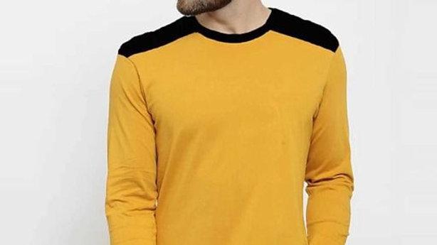 Ankush Fashion Wear  Men Musturd & Black Solid Round Neck T-shirt