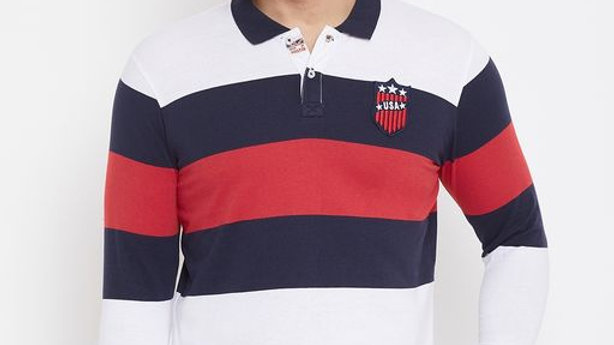 Austin Wood Men's Multicolor Full Sleeves Striper Polo T-shirt