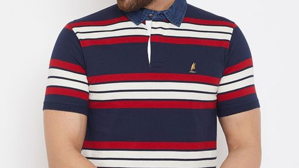 Harbor n Bay Men's Navy Blue Striped Tshirts