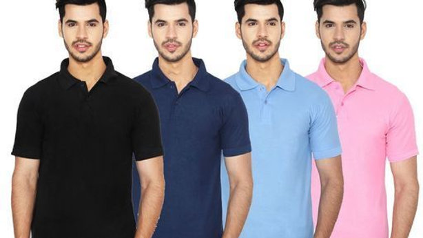 Ansh Fashion Wear Pack of 4 Regular Wear Polo Neck T-shirt