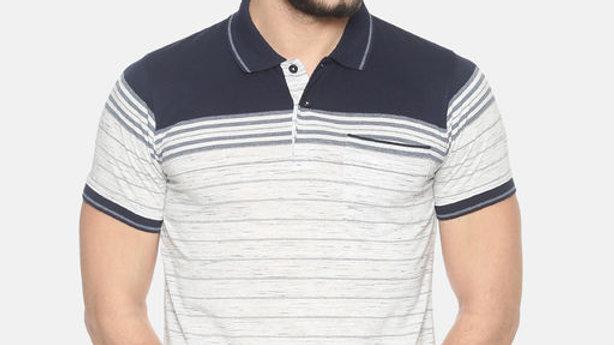 Halton Hills Men's Polo Collar Striped T Shirt