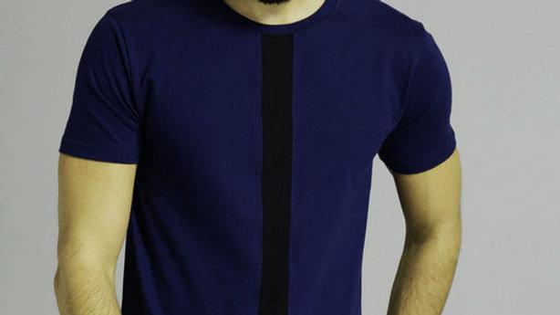 Men's Stylish Half Sleeves Navy Blue N Black T-shirt