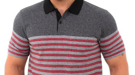 Men's Maroon Striper Cotton Short Sleeves Polo T-shirt