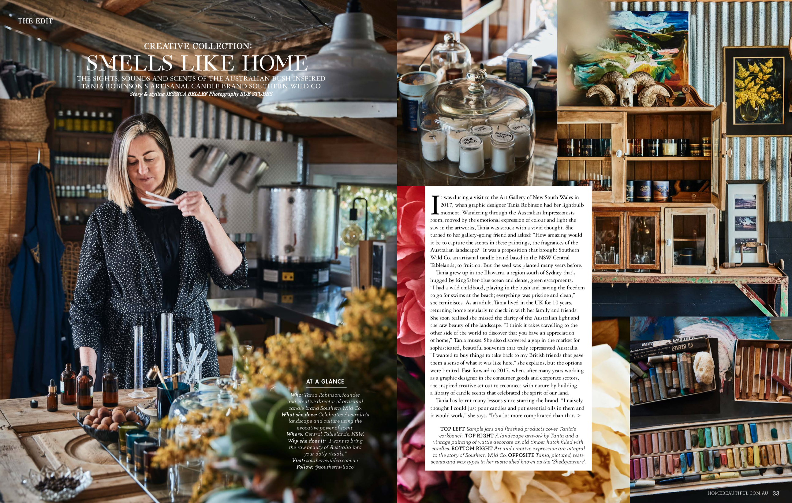 Creative profile feature writing for Home Beautiful, photography by Sue Stubbs