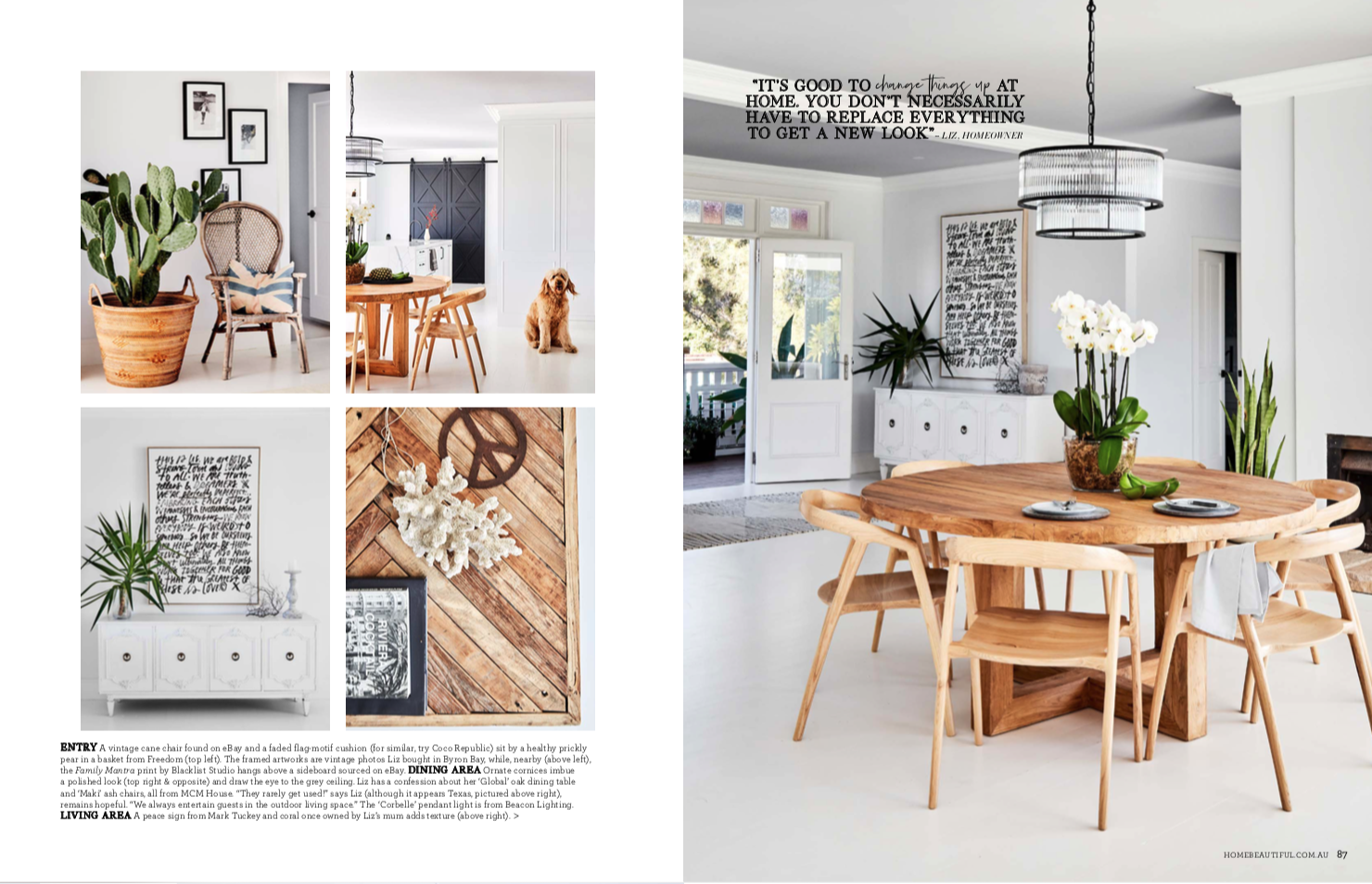 Editorial styling and writing for Home Beautiful, photography by Sue Stubbs