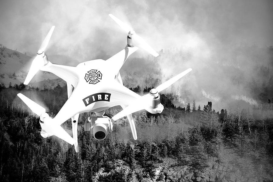 drone pompier incendie secours