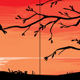 Couple Painting - Birds in Sunset
