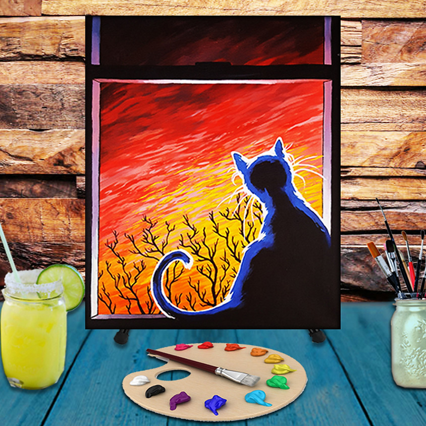 Cat in a Window -  Step by Step Painting Class