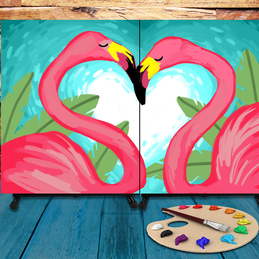 Couple's Virtual Date - Step by Step Painting Class - Flamingos