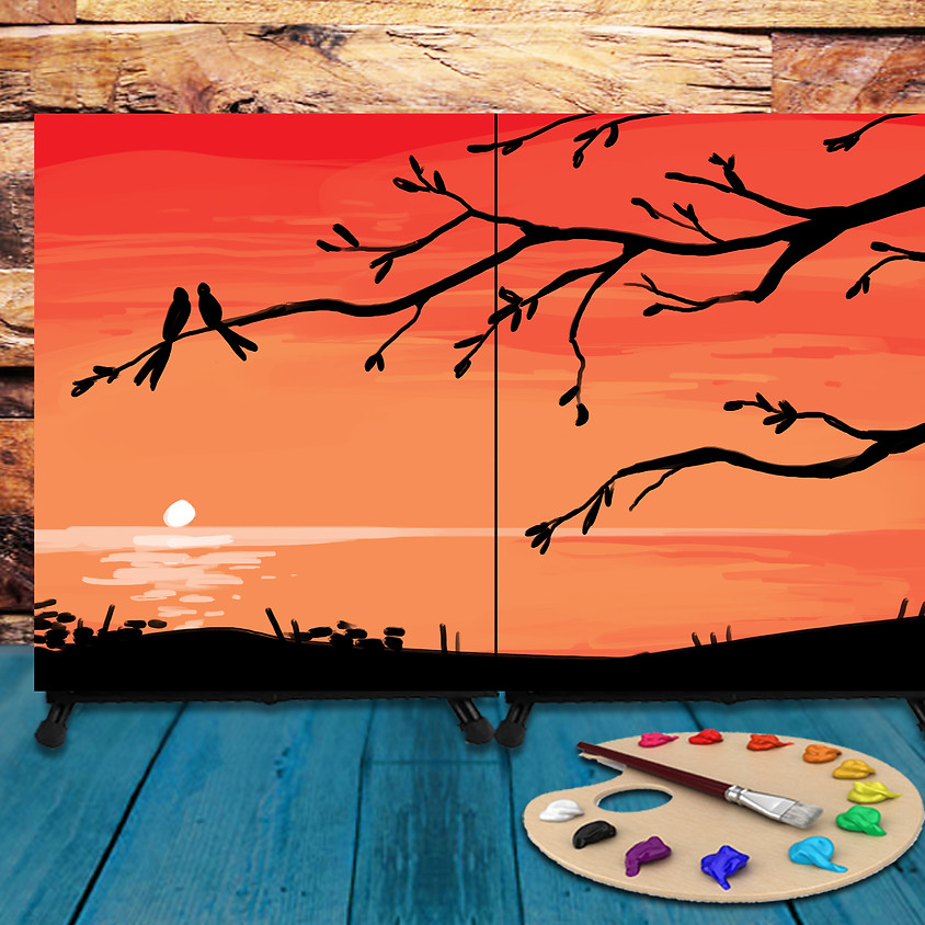 Couple's Virtual Date - Step by Step Painting Class - Sunset