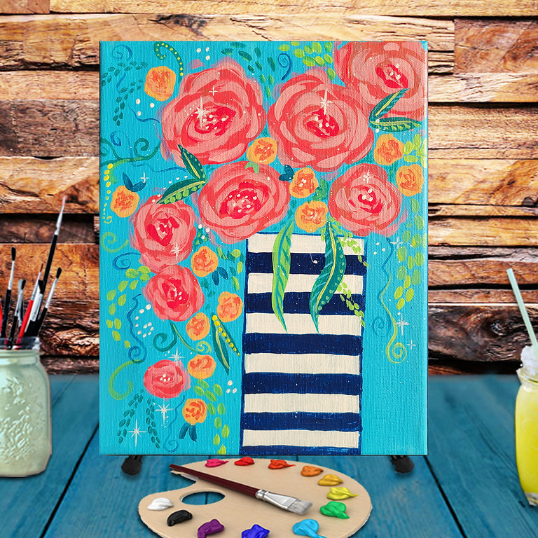 A Vase of Roses -  Step by Step Painting Class