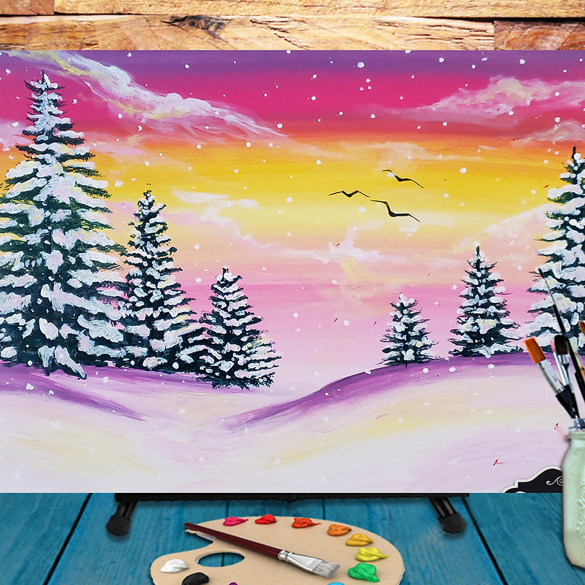 Pink Winter -  Step by Step Painting Class
