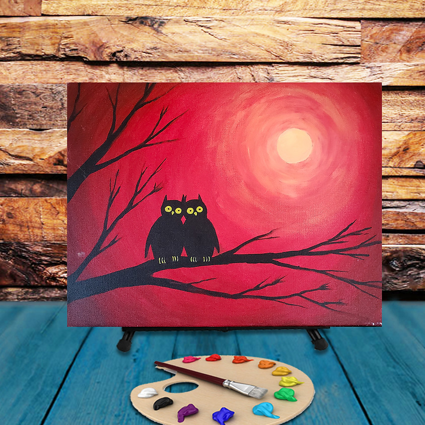 Owl Couple - Virtual Step by Step Painting Class