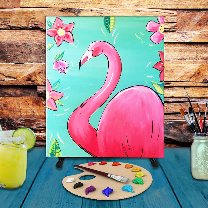 Summer Flamingo - Virtual Step by Step Painting Class